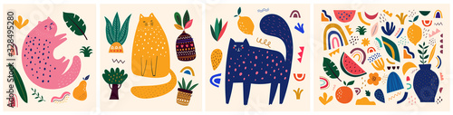 Cute spring pattern collection with cat. Decorative abstract horizontal banner with colorful doodles. Hand-drawn modern illustrations with cats, flowers, abstract elements - 328495280