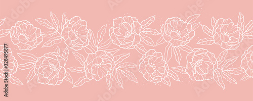 Obraz Elegant hand drawn peonies horizontal seamless pattern, lovely floral background, great for textiles, banners, wallpapers, wrapping - vector design - fototapety do salonu