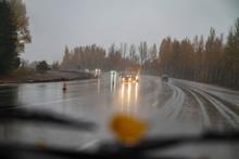 Autumn Weather. Rain, Snow, Dr...