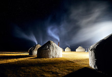 Yurt Nomadic Houses At Night