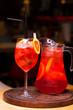 Restaurant dish - soft drink in a jug in dark
