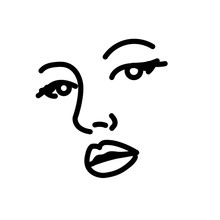 Beautiful Woman Face Line Art....