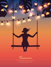 Girl On A Swing On Tropical Summer Paradise Background With Fairy Light And Palm Leaves Vector Illustration EPS10