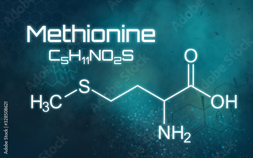 Chemical formula of Methionine on a futuristic background Canvas Print