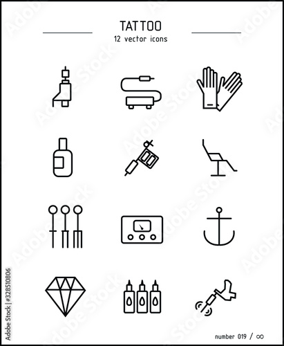 Collection of vector images on the theme of tattooing and personality for a tatt Wallpaper Mural