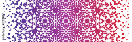 Red morocco pattern, islamic vector border Wallpaper Mural