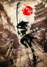 A Samurai Girl With A Katana And In A Wide Hat With Horns, Runs To The Attack Along A Stone Path, In An Epic Pose, Against The Background Of A Japanese Temple And Mountains. 2d Illustration.