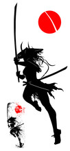 Silhouette Of A Samurai Girl With A Katana And A Wide Hat With Horns, Raring To Attack Moving Away From The Viewer, In An Epic Pose On One Leg . 2D Illustration.