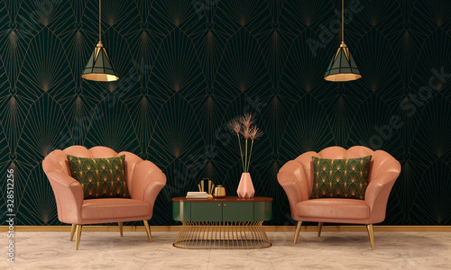 Photo Art Deco interior in classic style with pink armchair and lamp