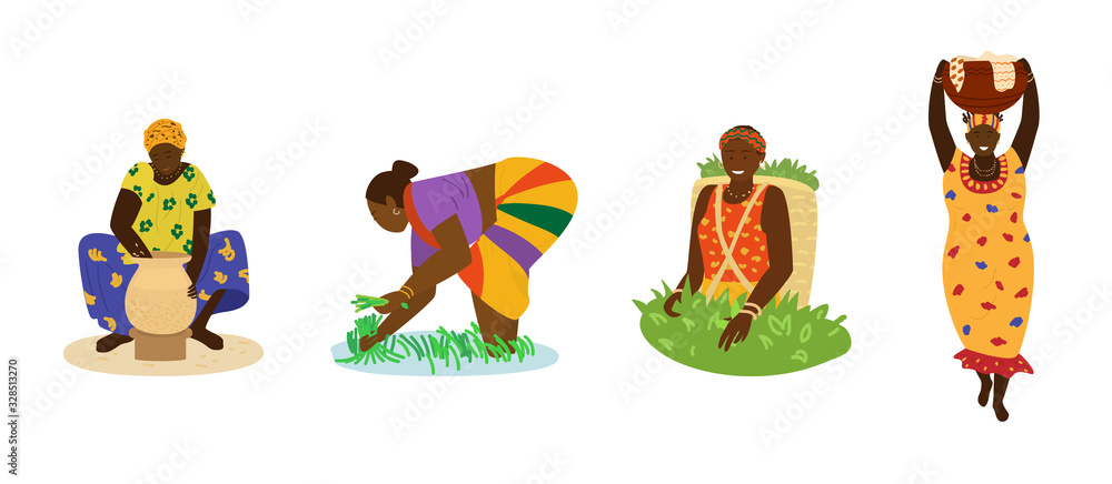Fototapeta African women in colorful dresses working. Making pottery, working in rice field, picking tea, carrying big jug with laundry. Traditional crafts, manual labor, agriculture. Flat hand drawn vector.