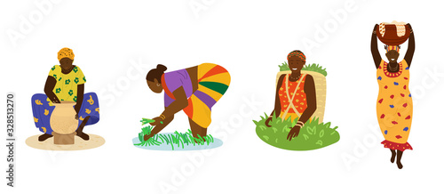 African women in colorful dresses working. Making pottery, working in rice field, picking tea, carrying big jug with laundry. Traditional crafts, manual labor, agriculture. Flat hand drawn vector.