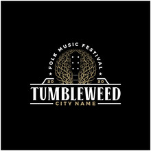 Negative Space Tumbleweed Guitar Country Music Western Vintage Retro Saloon Bar Cowboy Logo Design