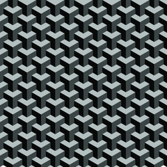 Seamless geometric isometric pattern. 3D illustration. Abstract textured blac...