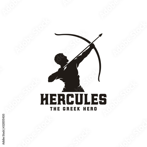 Hercules Heracles with Bow Longbow Arrow, Muscular Myth Greek Archer Warrior Sil Fototapeta