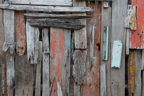 Fototapety, obrazy: Distressed Driftwood Wall In Thailand