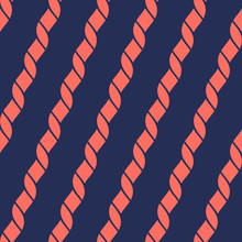 Vector Seamless Pattern With Diagonal Ropes. Nautical Maritime Style Geometric Texture. Trendy Colors, Dark Blue And Living Coral. Simple Abstract Repeat Background. Design For Decor, Textile, Fabric