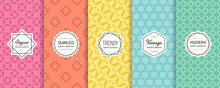 Vector Geometric Seamless Patterns. Collection Of Colorful Background Swatches With Elegant Minimal Labels. Subtle Abstract Textures. Cute Modern Design. Pink, Orange, Yellow, Blue, Turquoise Color