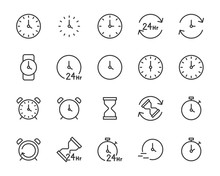Set Of Time Icons, Clock, 24 H...