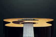 Acoustic Guitar Low Angle View...