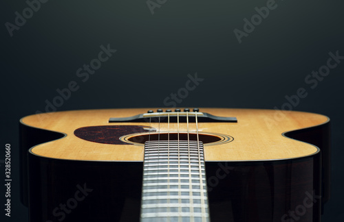 Photo acoustic guitar low angle view close up