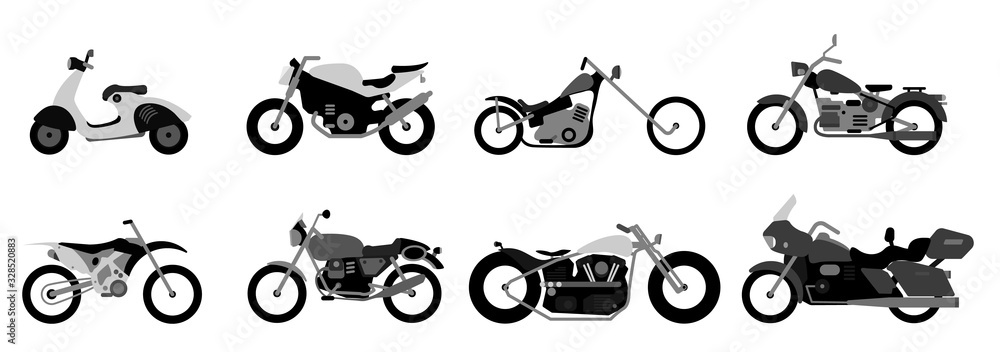 Fototapeta Set of motorcycle or motorbike, bike or extreme cycle. Retro street scooter and modern cruiser or moped. Collection transports for road racing.