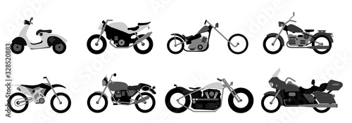 Photo Set of motorcycle or motorbike, bike or extreme cycle