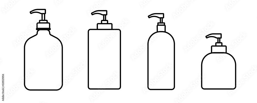 Fototapeta Flat design of bottle vector icon. Line art