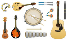 Musical Acoustic Instruments. String Guitar Ukulele Drums Metallophone Domra Balalaika Or Mandolin. Set Of Elements For Concert Posters And Banners.