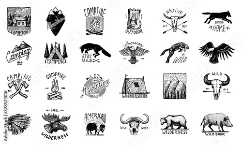 Set of camping labels or badges Canvas Print