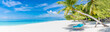 canvas print picture - Tropical beach panorama as summer landscape with beach swing or hammock and white sand and calm sea for beach banner. Perfect beach scene vacation and summer holiday concept. Boost up color process