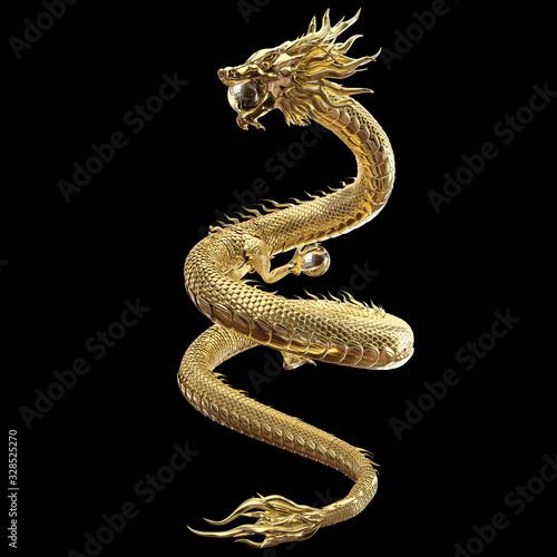3D Rendering Full body gold dragon in smart pose with glass ball include alpha path Canvas