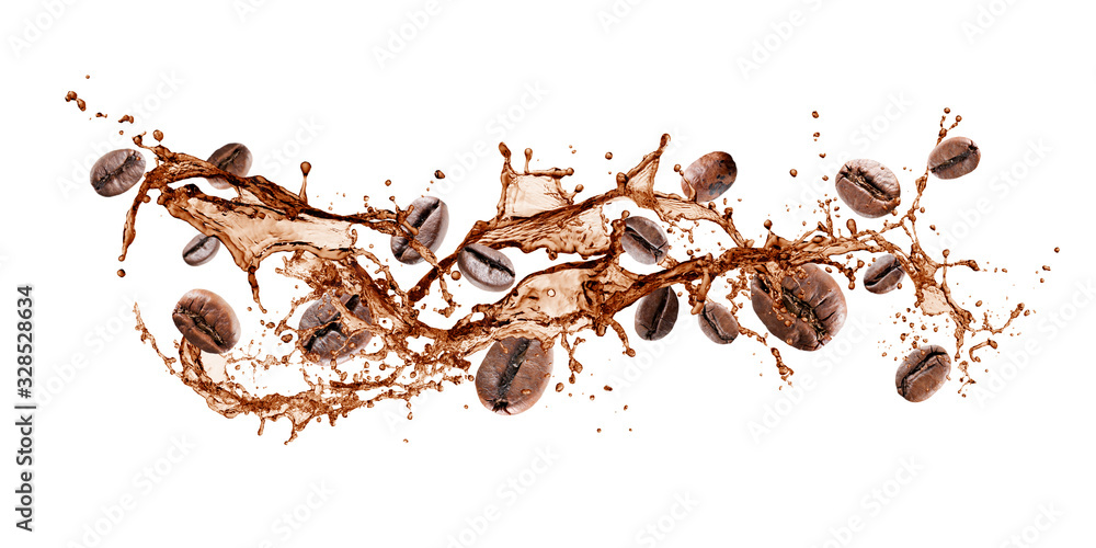 Fototapeta wave of splashing coffee with coffee beans, isolated on white