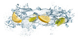 splashing of water waves with lemon slices and ice cubes, isolated on white