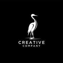 Heron Silhouette Vector Illust...