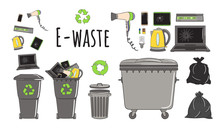 Set Of Garbage Cans With E-waste Garbage