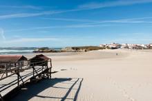 Empty Beach Scene Baleal Island Near Peniche, Silver Coast Portugal