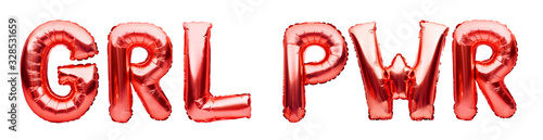 Lettering GRL PWR or girl power made of red inflatable helium balloons on white background. Red foil balloon font forming abbreviation for the feminist slogan. Party decorations.