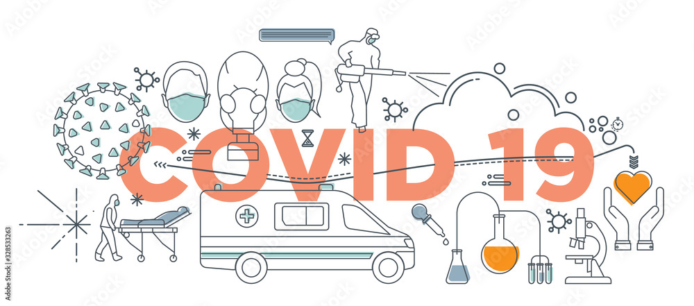 Fototapeta Hand drawn doodle epidemiology concept, Coronavirus disease COVID-19 infection vector medical illustration. Dangerous China pathogen respiratory influenza virus cells of Asian pandemic risk design.