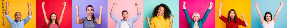 Fototapeta Photo collage of group of eight different delightful cheerful encouraged victorious champion millennials have good mood feel happy excited emotion isolated over multicolored background sale concept