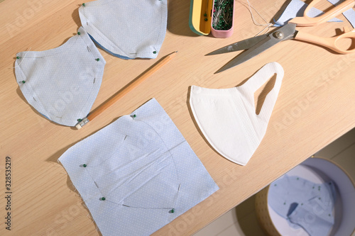 Obraz layout of face protective mask handmade from fabric - fototapety do salonu