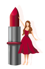 Young Woman In Red Dress Holding A Gigantic Lipstick