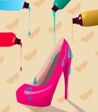 Multicolor Paint Dripping On Vibrant Pink Heels Shoes