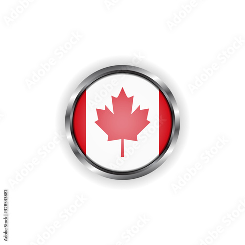 Abstract button with stylish metallic frame. Canada flag vector illustration