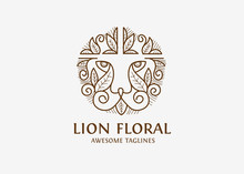 Simple Lion Head With Floral E...