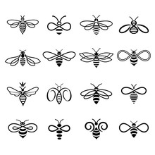 Honey Bee Logo. Set Of Bees Fo...
