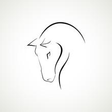 Line Horse Head Logo Type Vect...