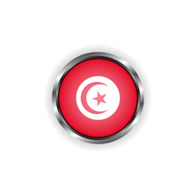 Abstract Button With Stylish Metallic Frame. Tunisia Flag Vector Illustration