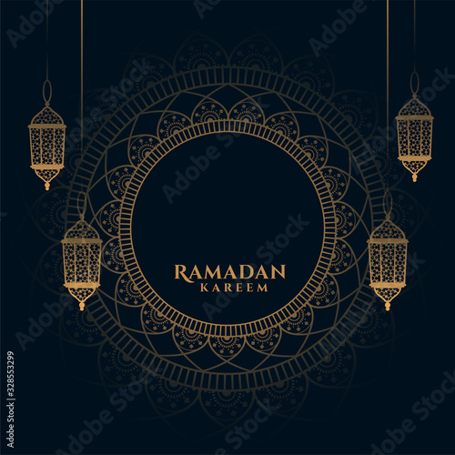 decorative ramadan kareem background with arabic lanterns Canvas Print