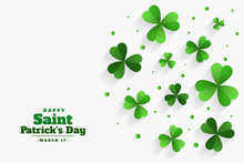Happy St Patricks Day Clover Green Leaves Background