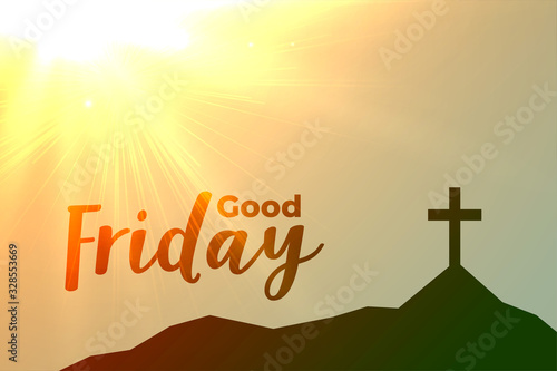 good friday cross background with sun flare